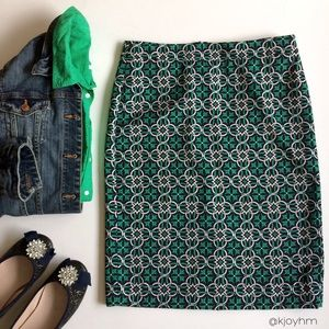 "J. Crew pencil skirt in ""Lattice Medallion"" print"
